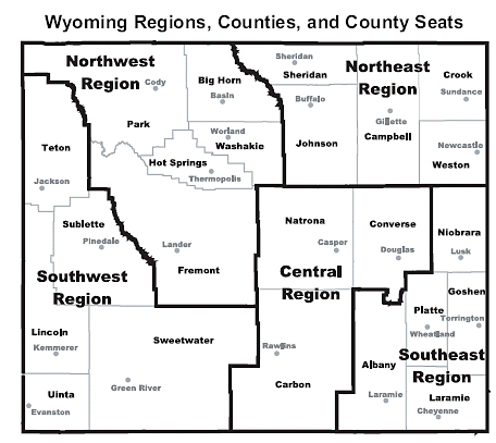 Wyoming Labor Force Trends Map Wyoming Regions